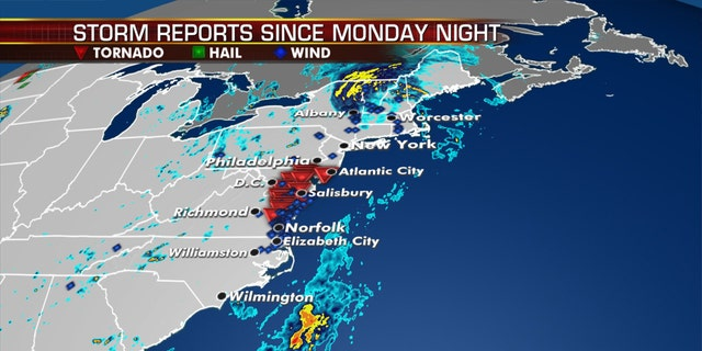 Dozens of storm reports stretch from the Carolinas to New England after Tropical Storm Isaias roared through the area.