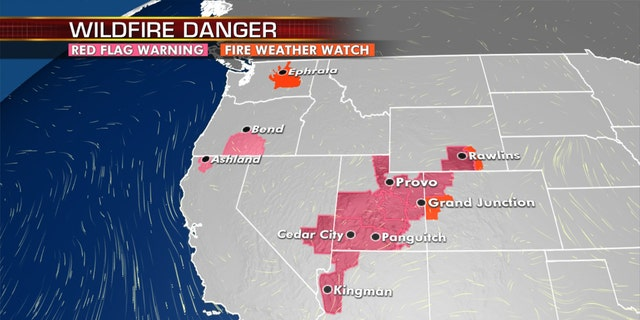 An elevated fire danger exists out west, as more hot weather is in the forecast.