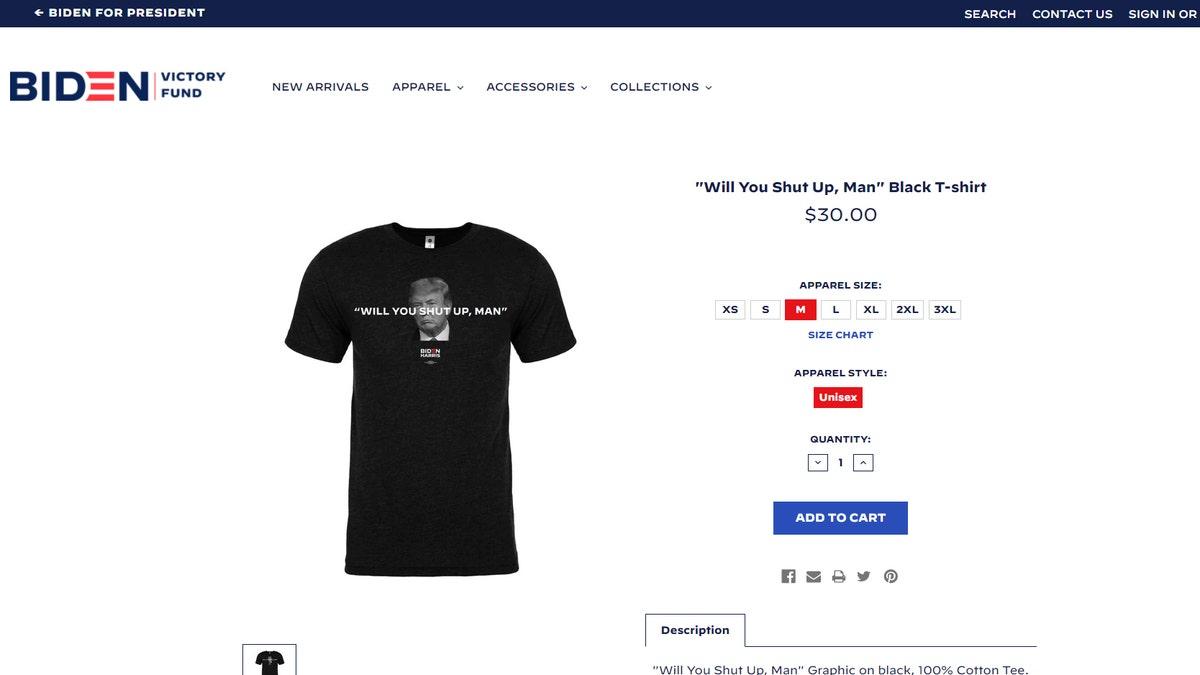 Will You Just Shut Up Man Joe Biden to Donald Trump 2020 T-Shirt