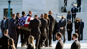 Justice Ruth Bader Ginsburg's casket arrives at Supreme Court to lie in repose