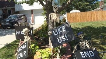 Kansas man's Halloween decorations warn of impending doom – for those not wearing masks
