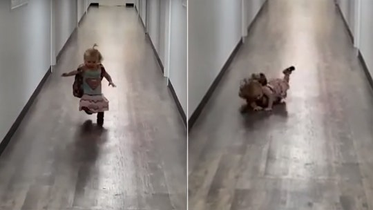 Texas toddler is too happy to see her dad after school, falls while running toward him in adorable video