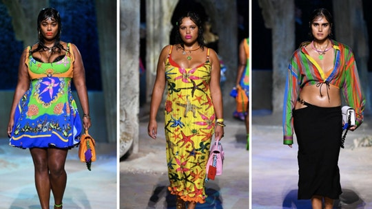 Plus-size models walk Versace runway at Milan Fashion Week, a first for the design house