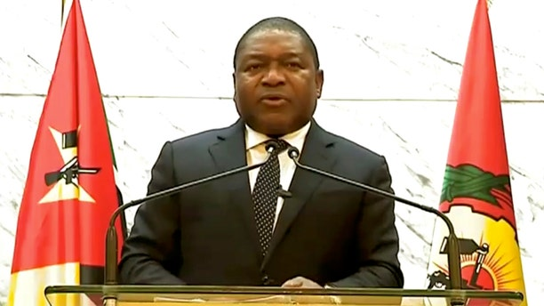 In this image made from UNTV video, Filipe Jacinto Nyusi, President of Mozambique, speaks in a pre-recorded message which was played during the 75th session of the United Nations General Assembly, Wednesday, Sept. 23, 2020, at UN headquarters. (UNTV via AP)
