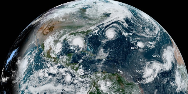 This NOAA Environmental Visualization Laboratory image shows five named storms churning in the Atlantic Basin at once for the first time since 1971.