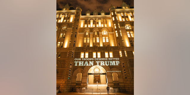 Images projected on Trump Hotel in Washington D.C. on Friday, Sept. 4, 2020, by the Democratic National Committee. Photo from DNC.