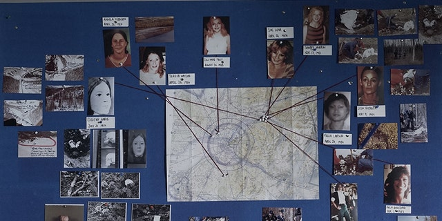 The murder map featuring photos of a selection of Hansen's victims with string pointing to where they were found.