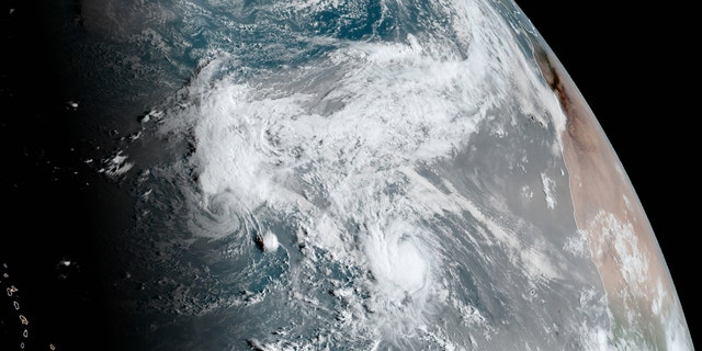 Tropical Storms Paulette (left) and Rene (right) can be seen over the Atlantic Ocean on Sept. 10, 2020.