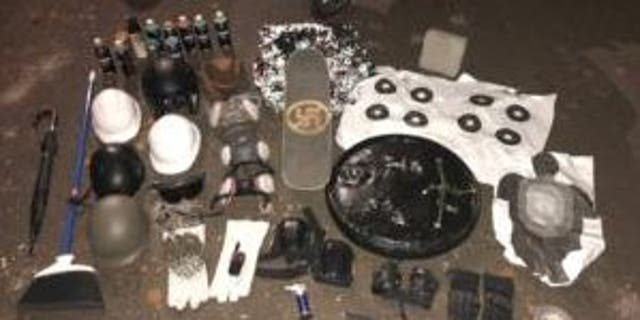 This Sept. 30, 2020 photo shows items recovered by Portland Police during Sept. 29 vehicle search (Portland Police Bureau)
