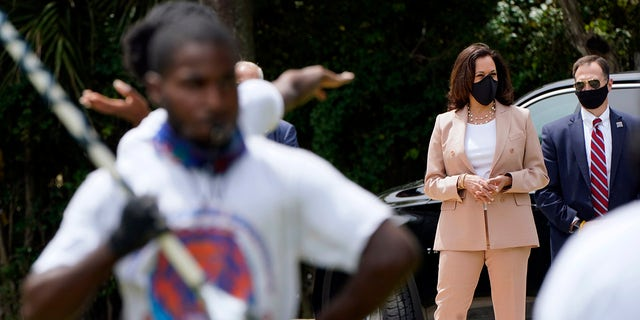Democratic vice presidential candidate Sen. Kamala Harris, D-Calif., listens to the Florida Memorial University marching band Thursday, Sept. 10, 2020, in Miami Gardens, Fla. (AP Photo/Lynne Sladky)