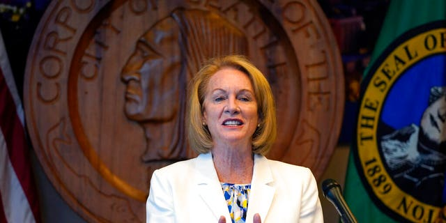 Seattle Mayor Jenny Durkan addresses a news conference about changes being made in the police department Wednesday, Sept. 2, 2020, in Seattle.