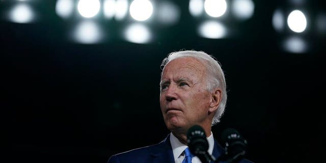 Democratic presidential candidate, former Vice President Joe Biden, is on a hiatus as he talks about the school reopening in Wilmington, Delaware on Wednesday, September 2, 2020.  (AP Photo / Carolyn Kaster)