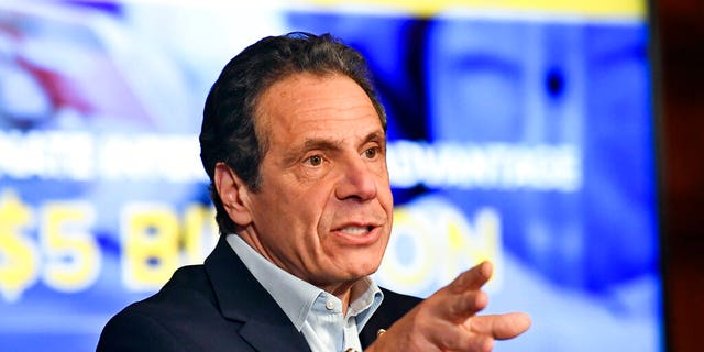 FILE: New York Gov. Andrew Cuomo speaks about the $175.5 billion state budget during a news conference in the Red Room at the state Capitol in Albany, N.Y.