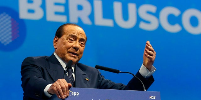 In this Nov. 21, 2019 file photo, Silvio Berlusconi, Italian former Premier and President of Forza Italia (Go Italy) party speaks during the European Peoples Party (EPP) congress in Zagreb, Croatia. (AP Photo/Darko Vojinovic, file)