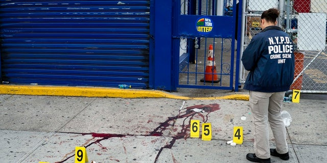 In this Sept 5, 2016, file photo, crime scene investigators with the New York Police Department work at the scene where multiple people were killed and others injured in a shooting during J'ouvert festivities in the Brooklyn borough of New York. NYPD Commissioner Dermot Shea on Tuesday said the department reached a 25-year high in gun arrests last week with 160 people taken into police custody. (AP Photo/Craig Ruttle, File)