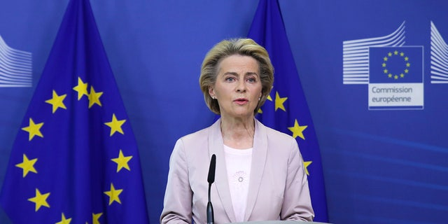 European Commission President Ursula von der Leyen speaks during a press statement at EU headquarters in Brussels, Tuesday, Sept. 8, 2020. The European Union's executive commission has proposed European Commission vice-president Valdis Dombrovskis to take over the post of EU trade commissioner following the resignation of Ireland's Phil Hogan. (Aris Oikonomou, Pool Photo via AP)