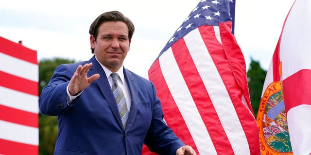 Florida Gov. Ron DeSantis attends an event with President Donald Trump on the environment at the Jupiter Inlet Lighthouse and Museum, Tuesday, Sept. 8, 2020, in Jupiter, Fla.