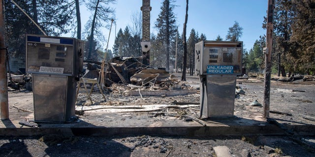 A service station that was destroyed by a wildfire is shown Tuesday, Sept. 8, 2020, in Malden, Wash.