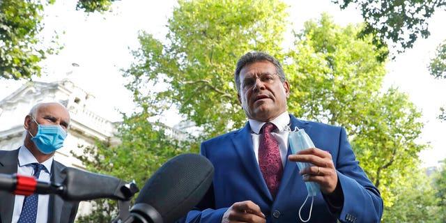 European Commission Vice President Maros Sefcovic addresses the media as he arrives at the Europa house in London, Thursday, Sept. 10, 2020.(AP Photo/Matt Dunham)