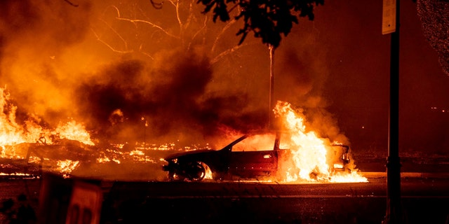 This photo, taken by Kevin Yanzer, a resident of Talent, Oregon, shows the destruction of his hometown as fires ravaged downtown Oregon near Medford in late September 8. (Kevin Yanzer via AP)