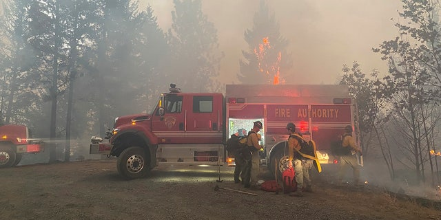 This photo provided by the Unified Fire Authority shows Utah fire brigade teams preparing to fight fires near Butte Falls in southern Oregon on Saturday, September 12, 2020 (Matthew McFarland / Unified Fire Authority via AP)