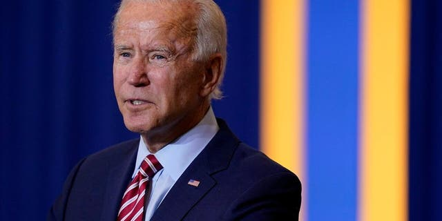 Democratic presidential candidate former Vice President Joe Biden speaks during a Hispanic Heritage Month event, Tuesday, Sept. 15, 2020, at Osceola Heritage Park in Kissimmee, Fla. (AP Photo/Patrick Semansky)