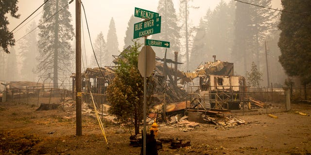 Land and property at an intersection is scorched, Sept. 15, in Blue River, Ore., eight days after the Holiday Farm Fire swept through the area's business district. More than 300 structures have been destroyed in the fire. (Andy Nelson/The Register-Guard via AP, Pool)