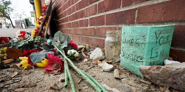 A memorial for James Scurlock is seen Sept. 16, 2020, near where he was shot and killed on May 30, in Omaha, Neb. (Associated Press)