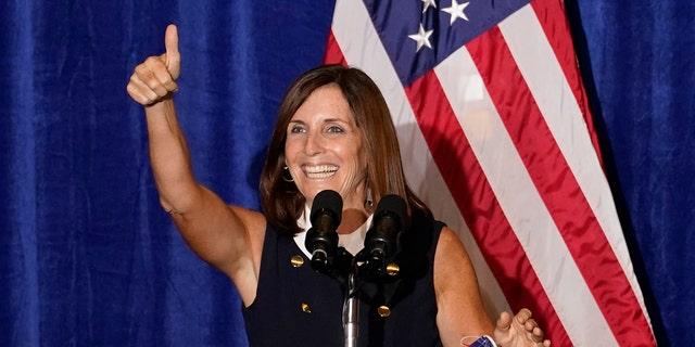 Sen. Martha McSally, R-Ariz., speaks at a Veterans for Trump campaign rally, Friday, Sept. 18, 2020, in Litchfield Park, Ariz. (AP Photo/Matt York)