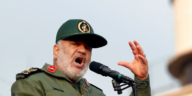 FILE: Chief of Iran's Revolutionary Guard Gen. Hossein Salami speaks at a pro-government rally, in Tehran, Iran.