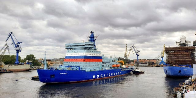 In this handout photo released by Russian State Atomic Energy Corporation Rosatom (ROSATOM), the new Russian nuclear icebreaker Arktika leaves a port in St. Petersburg, Russia, Sept. 22. The nuclear icebreaker named Arktika has left the port of St Petersburg with course towards Murmansk, on the north of Russia. According to the shipowner Rosatom, the Arktika should arrive in Murmansk in about two weeks. (ROSATOM via AP)