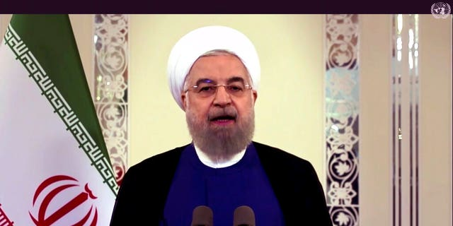 In this image made from UNTV video, Iranian President Hassan Rouhani speaks in a pre-recorded message which was played during the 75th session of the United Nations General Assembly, Tuesday, Sept. 22, 2020, at UN headquarters in New York.