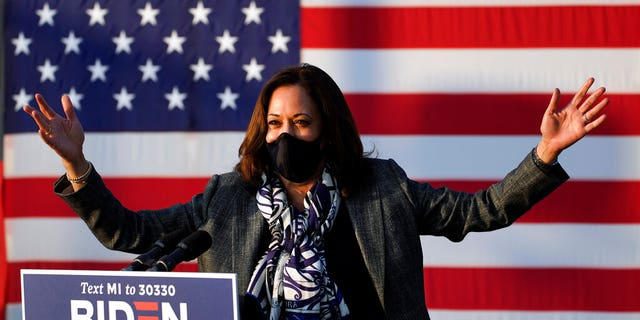 Democratic vice presidential candidate Sen. Kamala Harris, D-Calif., speaks at the Detroit Pistons practice facility in Detroit, Tuesday, Sept. 22, 2020.