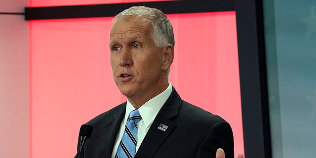 U.S. Sen. Thom Tillis, R-N.C. speaks during a televised debate with Democratic challenger Cal Cunningham at WNCN-TV in Raleigh, N.C., Tuesday, Sept. 22, 2020. (Associated Press)