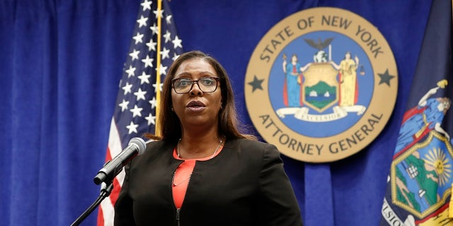 New York State Attorney General Letitia James addresses the media during a news conference in New York. (AP Photo/Kathy Willens, File)