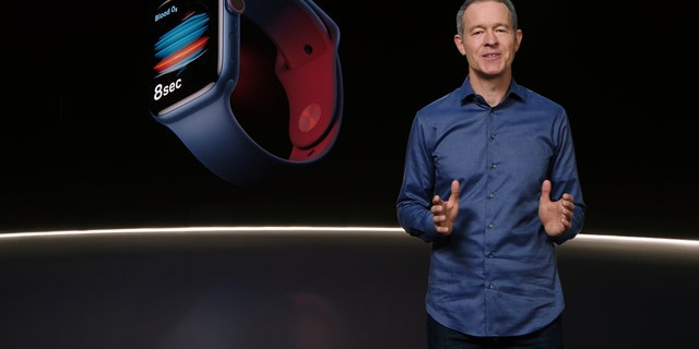 In this still image provided by Apple from the keynote video of a special event at Apple Park in Cupertino, Calif., Apple's Chief Operating Officer Jeff Williams unveils Apple Watch Series 6 on Tuesday, Sept. 15, 2020.