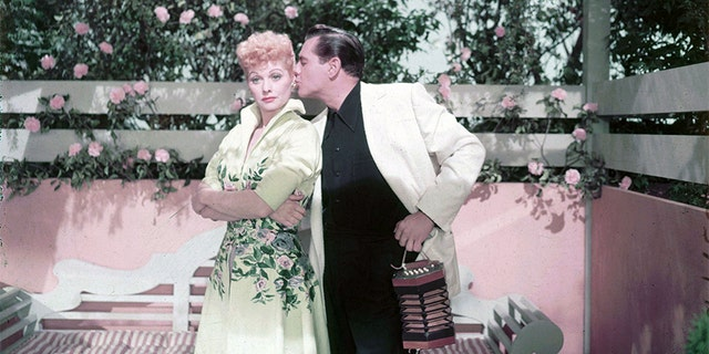 American actress Lucille Ball (1911-1989) with her husband Desi Arnaz (1917-1986), circa 1955.