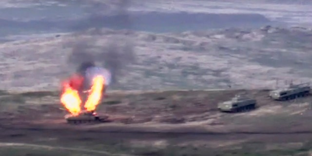 Fighting between Armenia and Azerbaijan has broken out around the separatist region of Nagorno-Karabakh and the Armenian Defense Ministry said two Azerbaijani helicopters have been shot down.