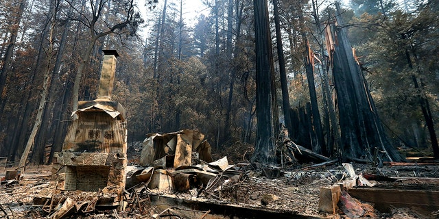 The fireplace of the Nature Lodge Museum and Store at Big Basin Redwoods State Park stands among the devastation Friday, Aug. 28, 2020, in Boulder Creek, Calif., wrought by the CZU August Lightning Complex, which destroyed nearly all buildings and burned thousands of trees at the park.