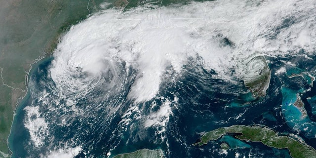 Tropical Storm Beta swirls over the Gulf of Mexico off the coast of Texas and Louisiana on Sept. 20, 2020.