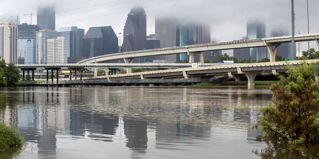 Buffalo Bayou's water levels are high due to heavy rains from Tropical Storm Beta as it rolls past downtown Tuesday, Sept. 22, 2020 in Houston.
