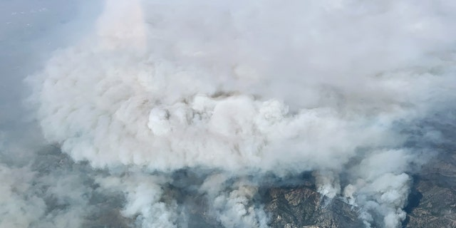 Aerial imagery from NASA shows the Bobcat Fire as it raged on Sept. 17, 2020.
