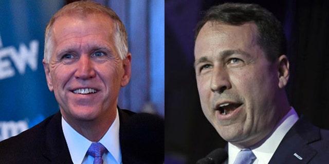 North Carolina voters will soon decide between incumbent Republican U.S. Sen. Thom Tillis, left, and Democratic challenger James