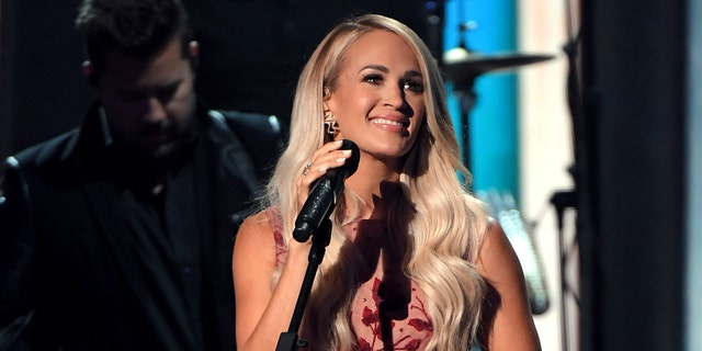 Carrie Underwood tied with Thomas Rhett for entertainer of the year, the show's biggest award. She performed twice during the evening. (Photo by Jason Kempin/ACMA2020/Getty Images for ACM)