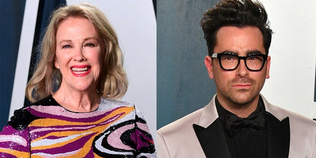 Catherine O'Hara (left) and Daniel Levy (right) of 'Schitt's Creek.' The two picked up Emmy Awards for their work on the show.