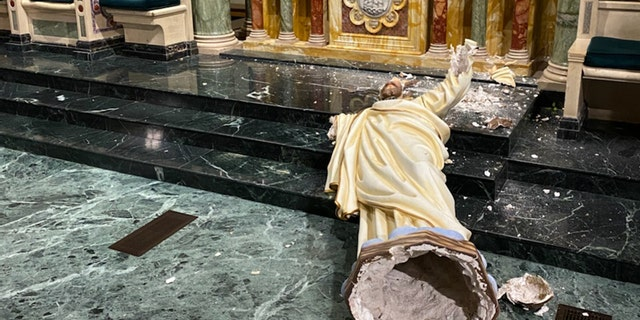 A 90-year-old Sacred Heart of Jesus statue was destroyed in an act of vandalism in a Texas cathedral, according to a report. (courtesy of the Catholic Diocese of El Paso)