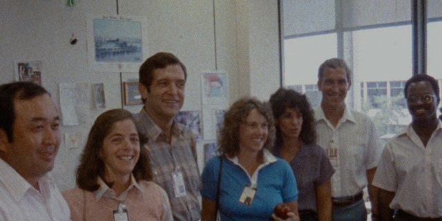 The Challenger 7 crew (L-R): Ellison S. Onizuka; Barbara Morgan, Dick Scobee; Christa McAuliffe; Judith Resnik; Mike Smith; and Ronald McNair.