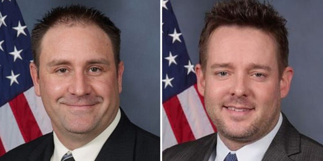 Officer Myles Cosgrove and Sgt. Jonathan Mattingly both remain on administrative leave from the Louisville Metropolitan Police Department. (Louisville Metro Police Department)