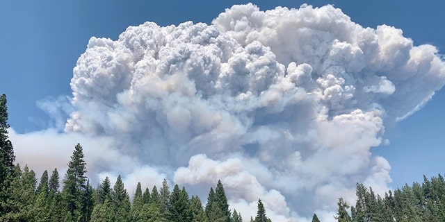 Towering clouds of smoke from the Creek Fire can be seen on Saturday, September 5, 2020.