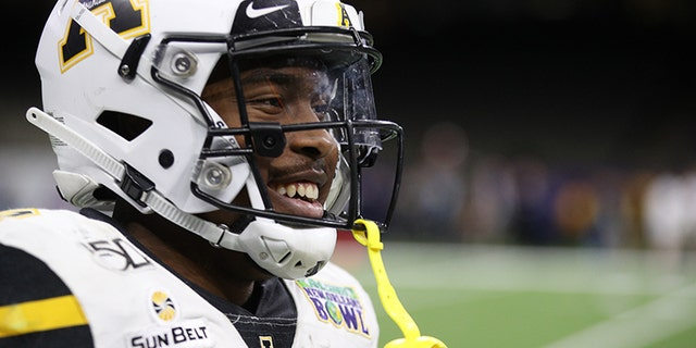 Darrynton Evans of the Appalachian State Mountaineers looks on during the game against the UAB Blazers during the R+L Carriers New Orleans Bowl at Mercedes-Benz Superdome on Dec. 21, 2019, in New Orleans, La. (Chris Graythen/Getty Images)